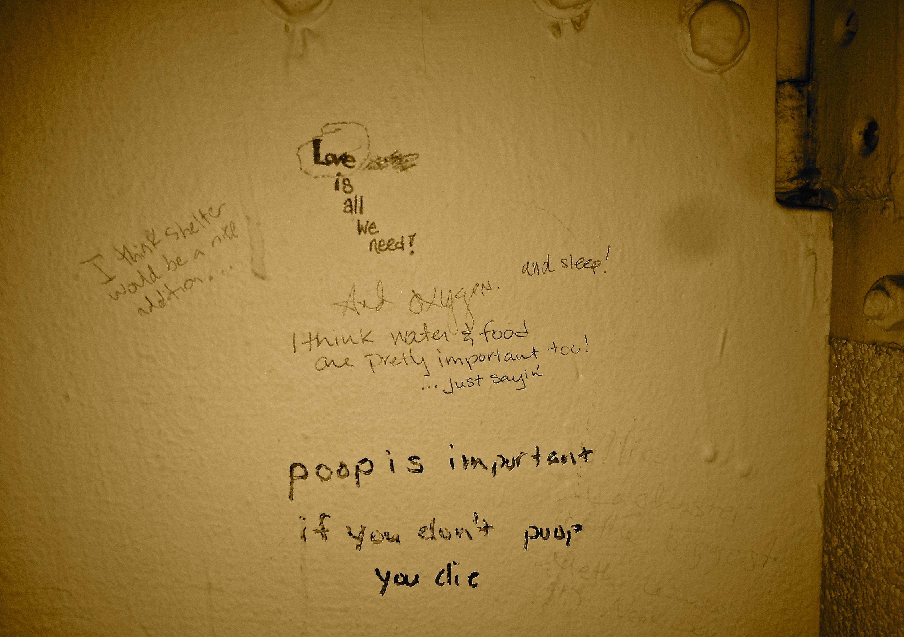 Bathroom Stall Wisdom what do we need? wisdom from a bathroom stall. – sarah zureick-brown